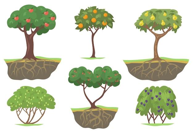 Flaches set der grünen obstbäume und der beerenbüsche Kostenlosen Vektoren