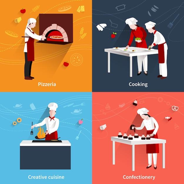 Flaches set kochen Premium Vektoren