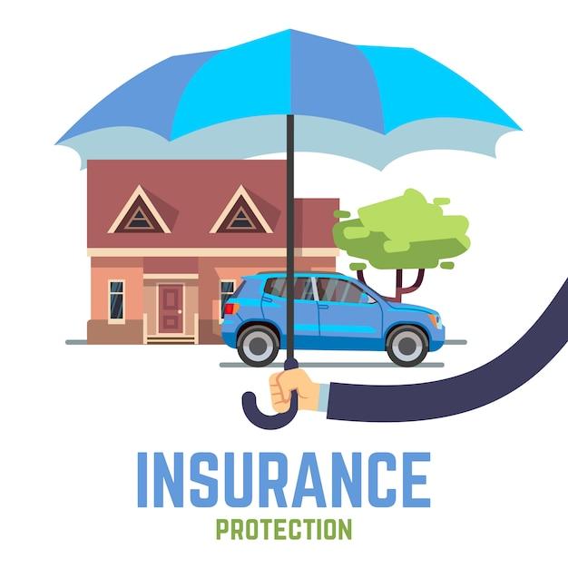 Flaches sicheres konzept des versicherungsvektors mit der hand, die regenschirm über haus und auto hält Premium Vektoren