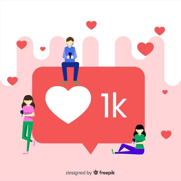 Flaches social media der jungen leute mögen konzepthintergrund Kostenlosen Vektoren