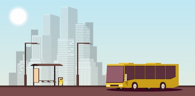 Flaches städtisches konzept des öffentlichen verkehrs. isometrische darstellung. Premium Vektoren