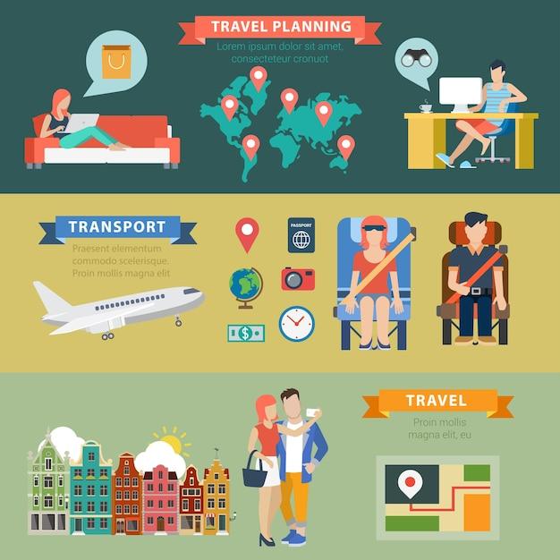 Flaches thematisches reiseurlaubsziel, das infografikenkonzept plant Kostenlosen Vektoren