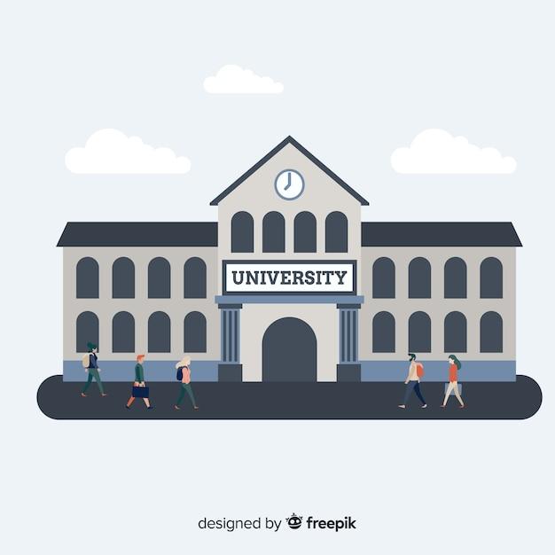 Flaches universitätskonzept Premium Vektoren