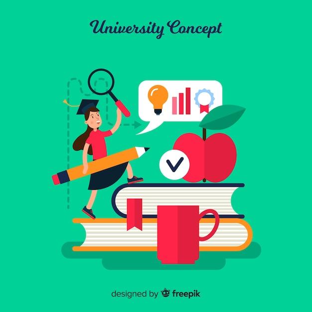 Flaches universitätskonzept Kostenlosen Vektoren