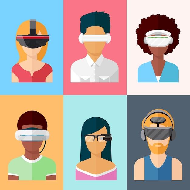 Flaches vektor-head-mounted-display-set. gadgets für virtuelle und erweiterte realität. innovation bei glas- und gaming-cyberanwendungen Kostenlosen Vektoren