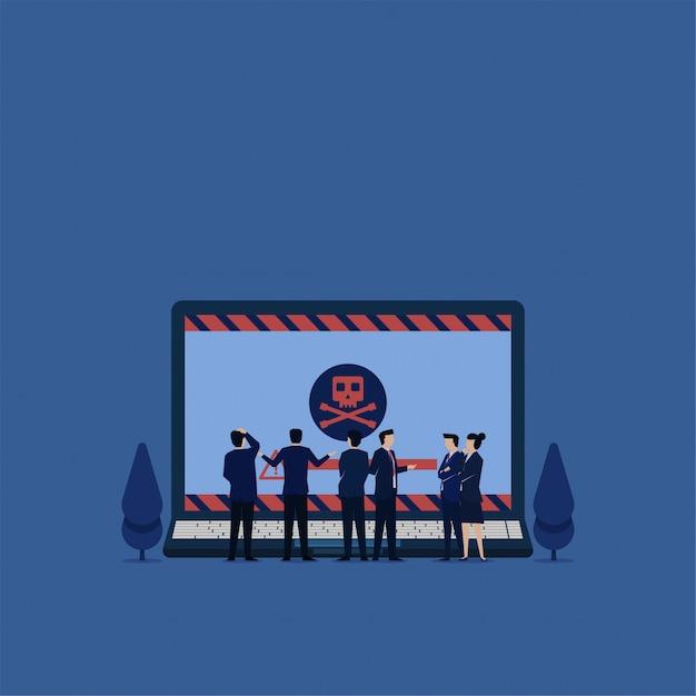 Flaches vektorkonzeptteam des geschäfts verwirren, um laptop mit virusmetapher der erpressersoftware zu sehen. Premium Vektoren