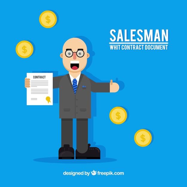 Flaches verkäufercharakterholding-vertragsdokument Kostenlosen Vektoren