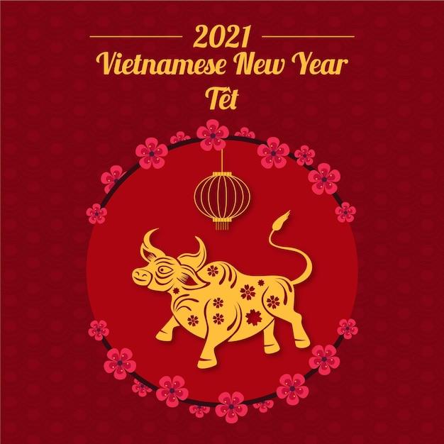 Flaches vietnamesisches neujahr Kostenlosen Vektoren