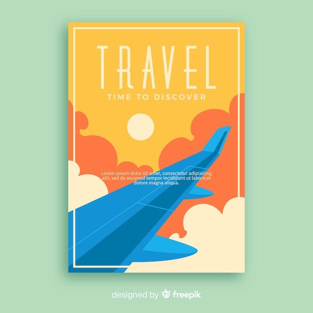 Flaches vintages förderndes reiseplakat Kostenlosen Vektoren
