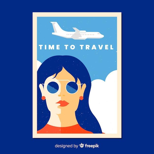 Flaches vintages reisendes plakat Kostenlosen Vektoren
