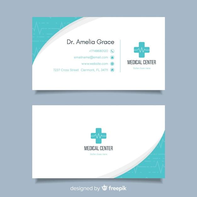 Flaches visitenkartekonzept für krankenhaus oder doktor Kostenlosen Vektoren