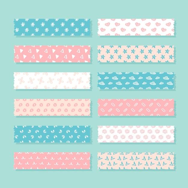 Flaches washi tape pack Kostenlosen Vektoren