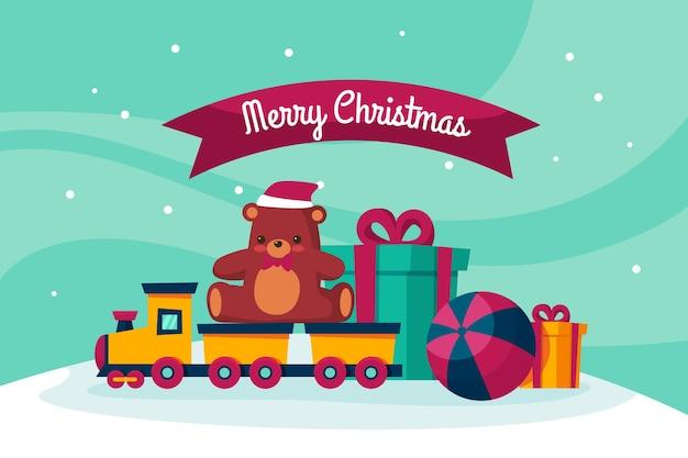 Flaches weihnachten spielt hintergrund Kostenlosen Vektoren