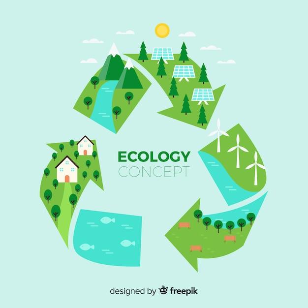 Flaches wiederverwertungssymbol mit grünen feldern Kostenlosen Vektoren