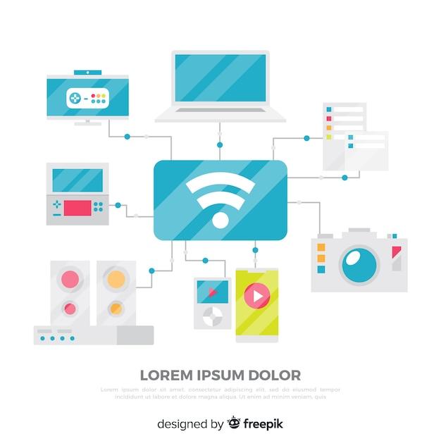 Flaches wifi-konzept Kostenlosen Vektoren