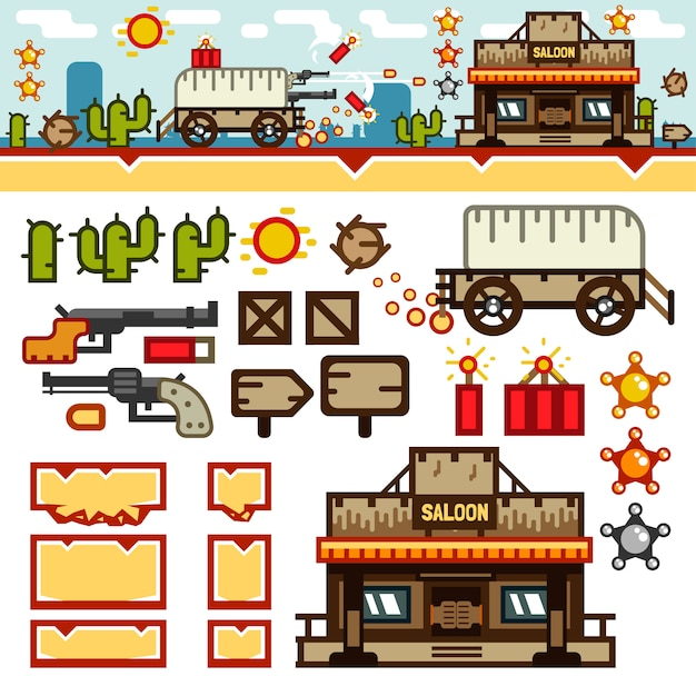 Flaches wild level-kit für wildwest Premium Vektoren