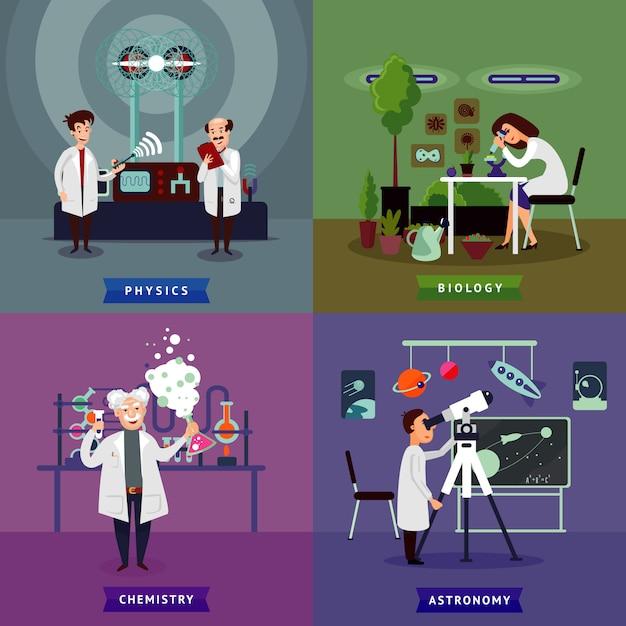 Flaches wissenschaftliches forschungsquadratkonzept Kostenlosen Vektoren