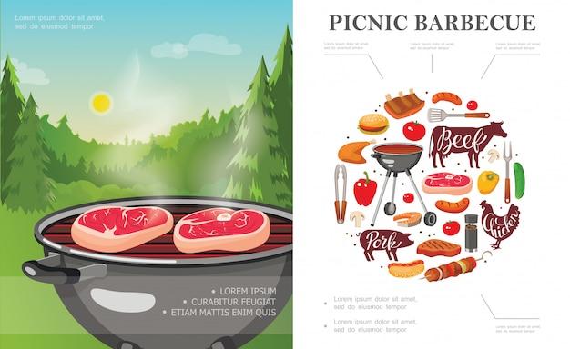 Flaches wochenendpicknickkonzept mit grill auf waldlandschaftsgemüse-grillutensilien-fleischwürsten Kostenlosen Vektoren