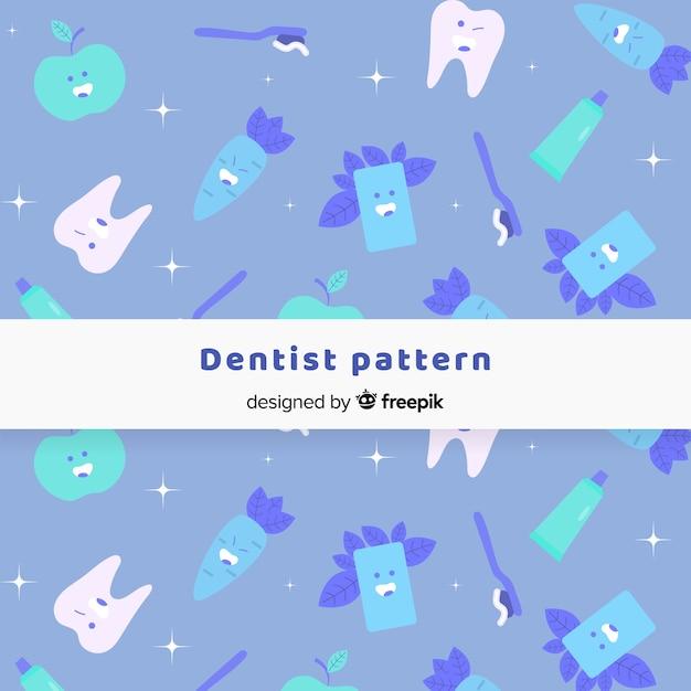 Flaches zahnarztmuster Kostenlosen Vektoren