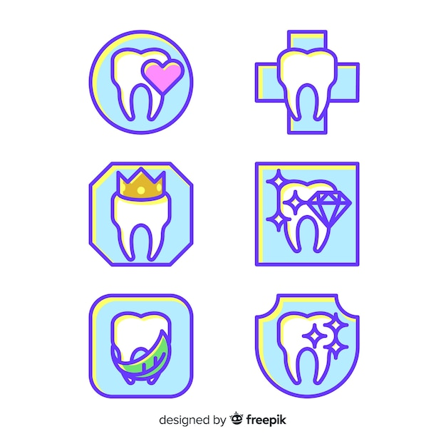 Flaches zahnklinik-logo Kostenlosen Vektoren