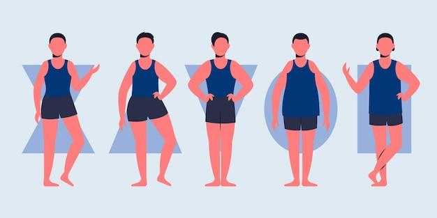 Flachhand gezeichnete arten männlicher körperformen Kostenlosen Vektoren