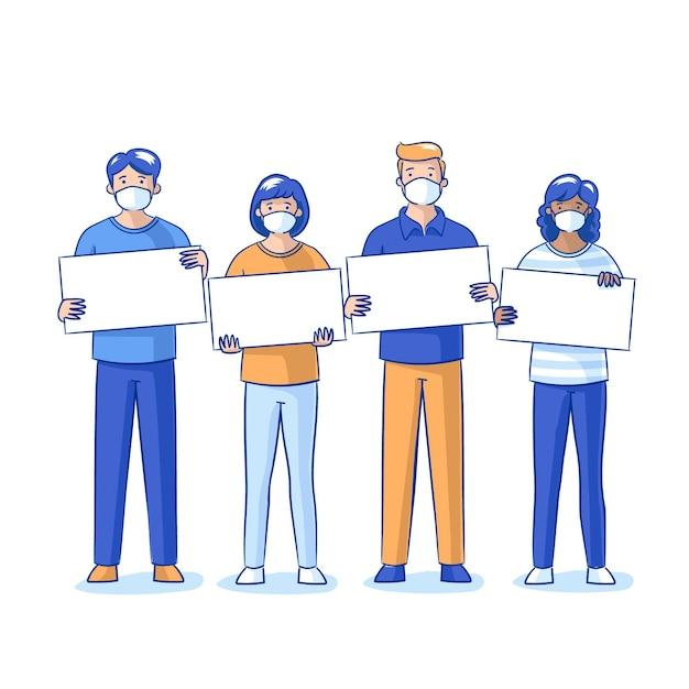 Flachhand gezeichnete personen in medizinischen masken mit leeren plakaten Kostenlosen Vektoren