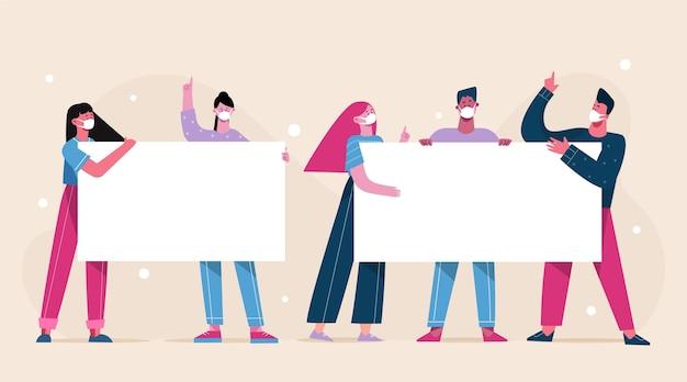 Flachhand gezeichnete personen in medizinischen masken mit plakaten Kostenlosen Vektoren