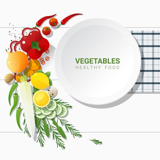Flachlage frischgemüse auf weißer tabelle Premium Vektoren