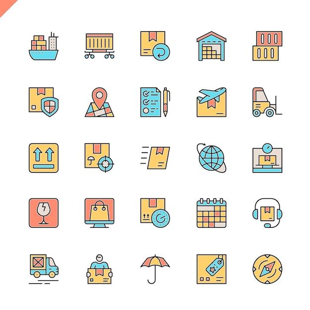 Flachlinien-logistik Premium Vektoren