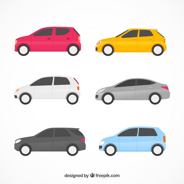 Flachwagen-sammlung mit seitenansicht Kostenlosen Vektoren