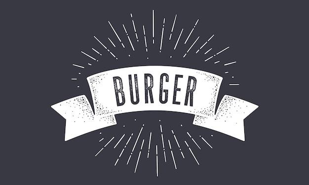 Flag burger. old school flag banner mit text burger. Premium Vektoren