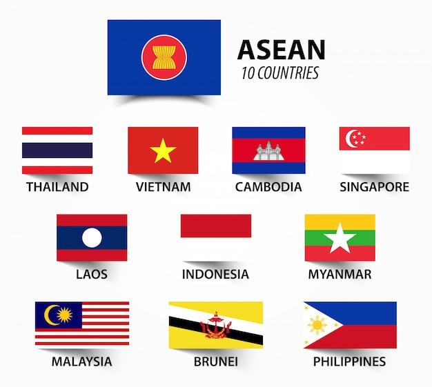 Flagge der asean und mitgliedschaft. Premium Vektoren