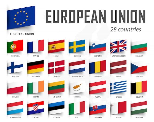 Flagge der europäischen union Premium Vektoren