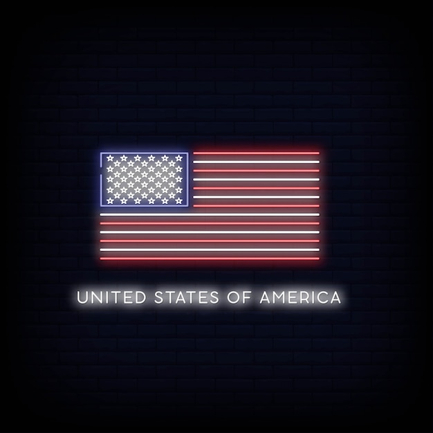 Flagge der vereinigten staaten von amerika leuchtreklame Premium Vektoren