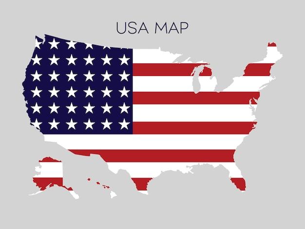 Flagge in der karte der usa-vektor-illustration. Premium Vektoren