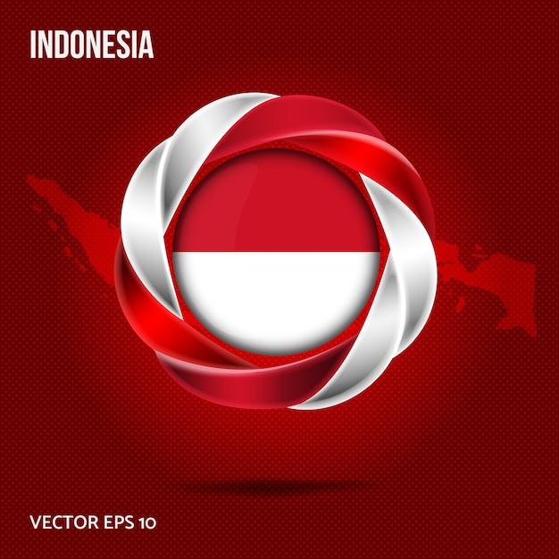 Flagge indonesien pin 3d design Premium Vektoren