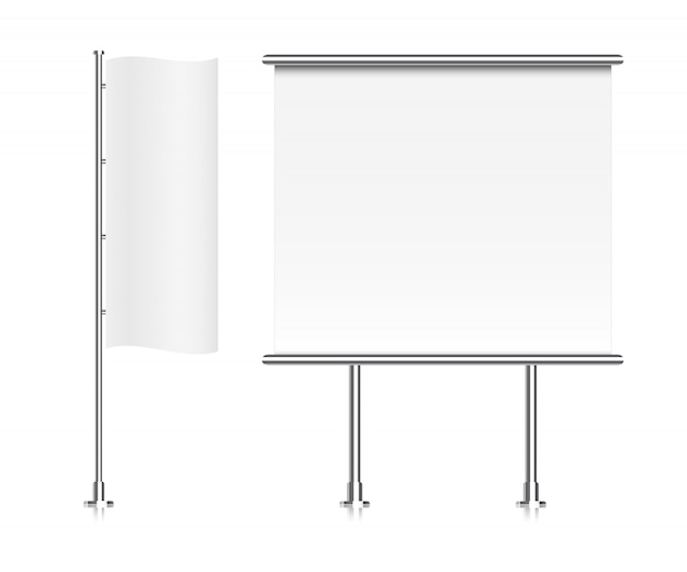 Flagge . roll-up-banner-anzeige Premium Vektoren