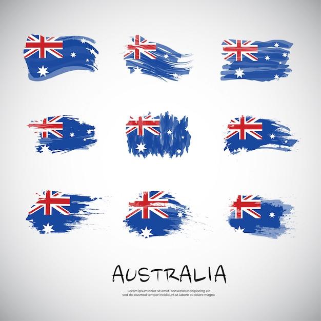 Flagge von australien mit pinselstrich. Premium Vektoren