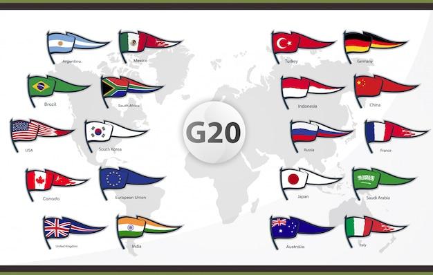 Flaggen der g20-mitgliedsländer Premium Vektoren