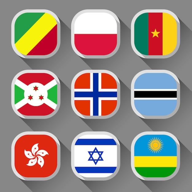 Flaggen der welt Premium Vektoren