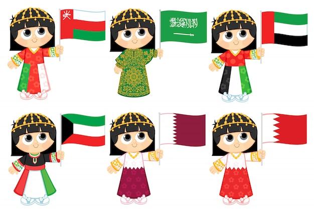 Flaggen des golfkooperationsrates (oman, saudi-arabien, vereinigte arabische emirate, kuwait, katar und bahrain) Premium Vektoren