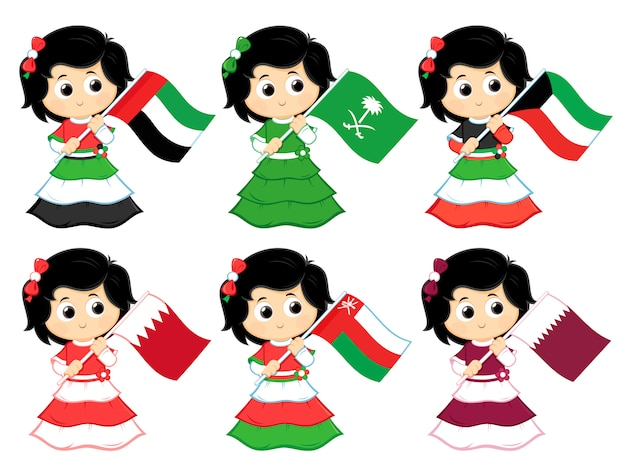 Flaggen des golfkooperationsrates (vereinigte arabische emirate, saudi-arabien, kuwait, bahrain, oman und katar) Premium Vektoren