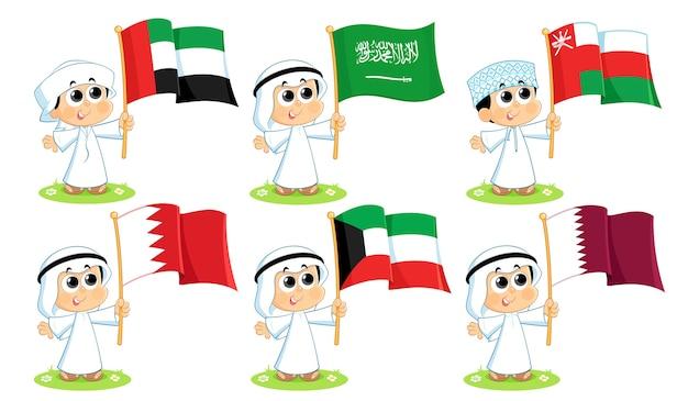 Flaggen des golfkooperationsrates (vereinigte arabische emirate, saudi-arabien, oman, bahrain, kuwait und katar) Premium Vektoren