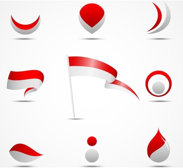 Flaggen und ikonen von indonesien Premium Vektoren