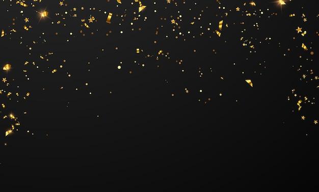 Flaggenfeier konfetti und bänder goldrahmen party banner, event geburtstag hintergrund vorlage mit. Premium Vektoren