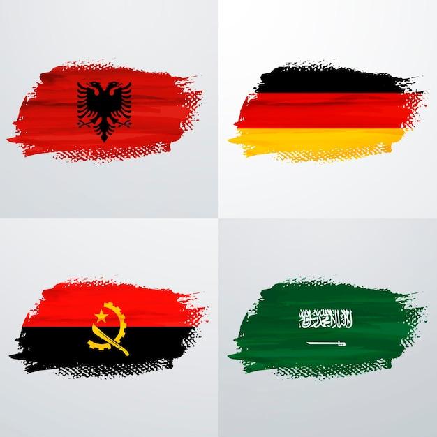 Flaggenpaket für albanien, deutschland, angola und saudi-arabien Premium Vektoren