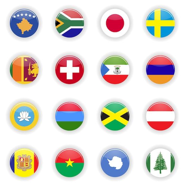 Flags gesetzt Premium Vektoren