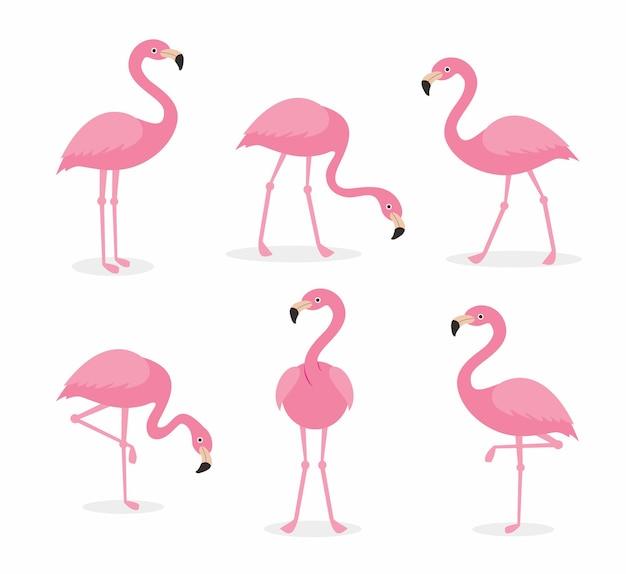 Flamingo cartoon sammlungen set Premium Vektoren