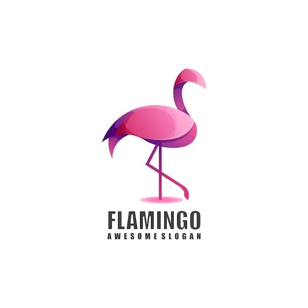 Flamingo-logo-verlaufsfarbe Premium Vektoren