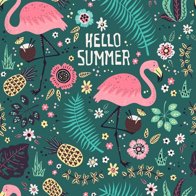 Flamingo mit tropischen früchten, pflanzen und blumen muster Premium Vektoren
